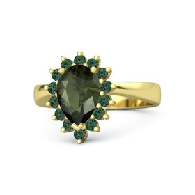 Pear Green Tourmaline 14K Yellow Gold Ring with Alexandrite