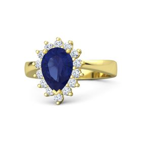 Pear Sapphire 14K Yellow Gold Ring with Diamond