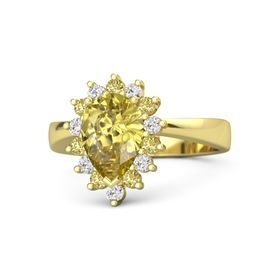 Pear Yellow Sapphire 14K Yellow Gold Ring with Yellow Sapphire and White Sapphire