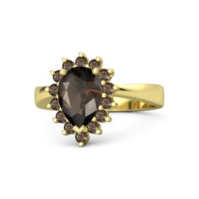 Pear Smoky Quartz 14K Yellow Gold Ring with Smoky Quartz