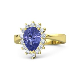Pear Tanzanite 14K Yellow Gold Ring with Diamond