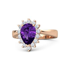 Pear Amethyst 18K Rose Gold Ring with Diamond