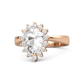 Pear Rock Crystal 18K Rose Gold Ring with Rock Crystal