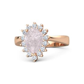 Pear Rose Quartz 18K Rose Gold Ring with Diamond