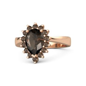 Pear Smoky Quartz 18K Rose Gold Ring with Smoky Quartz