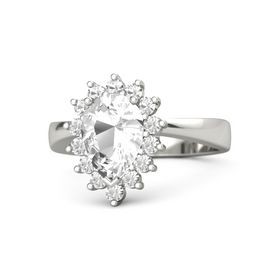 Pear Rock Crystal 18K White Gold Ring with Rock Crystal