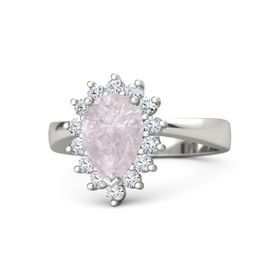 Pear Rose Quartz 18K White Gold Ring with Diamond