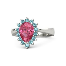 Pear Pink Tourmaline 18K White Gold Ring with London Blue Topaz