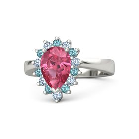 Pear Pink Tourmaline 18K White Gold Ring with London Blue Topaz and Blue Topaz