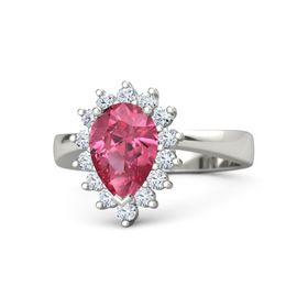 Pear Pink Tourmaline 18K White Gold Ring with Diamond