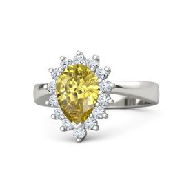 Pear Yellow Sapphire 18K White Gold Ring with Diamond
