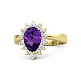 Pear Amethyst 18K Yellow Gold Ring with Diamond & White Sapphire