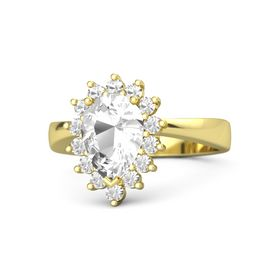 Pear Rock Crystal 18K Yellow Gold Ring with Rock Crystal