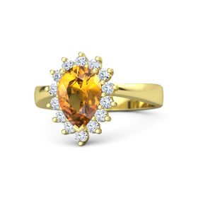 Pear Citrine 18K Yellow Gold Ring with Diamond