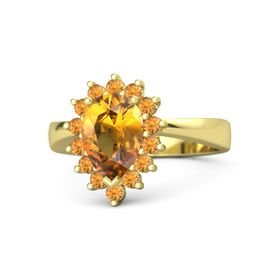 Pear Citrine 18K Yellow Gold Ring with Citrine