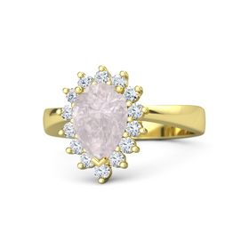 Pear Rose Quartz 18K Yellow Gold Ring with Diamond