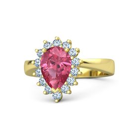 Pear Pink Tourmaline 18K Yellow Gold Ring with Blue Topaz