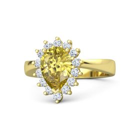 Pear Yellow Sapphire 18K Yellow Gold Ring with Diamond