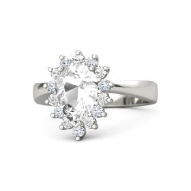 Pear Rock Crystal Palladium Ring with Rock Crystal and Diamond