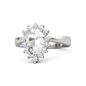 Pear Rock Crystal Palladium Ring with Diamond and Rock Crystal