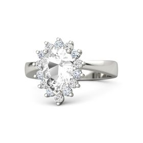 Pear Rock Crystal Palladium Ring with Diamond & White Sapphire