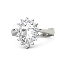 Pear Rock Crystal Palladium Ring with White Sapphire and Diamond