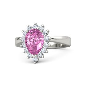 Pear Pink Sapphire Palladium Ring with Diamond