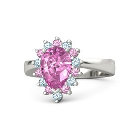 Pear Pink Sapphire Palladium Ring with Pink Tourmaline and Aquamarine
