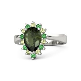 Pear Green Tourmaline Palladium Ring with Peridot and Emerald
