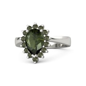 Pear Green Tourmaline Platinum Ring with Green Tourmaline