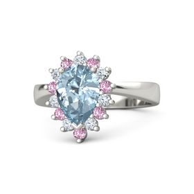 Pear Aquamarine Platinum Ring with Diamond and Pink Sapphire