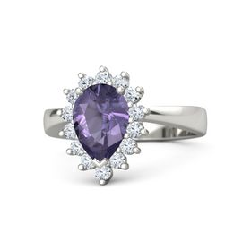 Pear Iolite Platinum Ring with Diamond