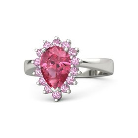 Pear Pink Tourmaline Platinum Ring with Pink Sapphire & Pink Tourmaline