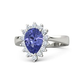 Pear Tanzanite Platinum Ring with Diamond