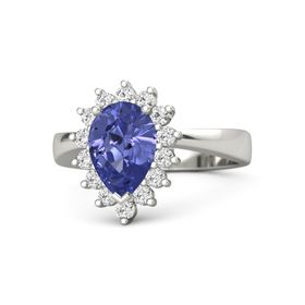 Pear Tanzanite Platinum Ring with White Sapphire