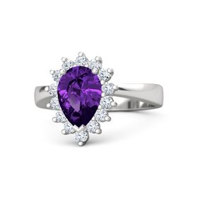 Pear Amethyst Sterling Silver Ring with Diamond