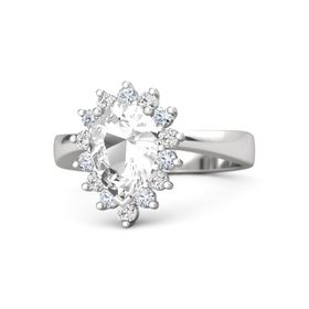 Pear Rock Crystal Sterling Silver Ring with Diamond & White Sapphire