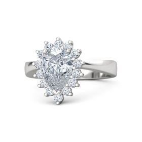 Pear Diamond Sterling Silver Ring with Diamond