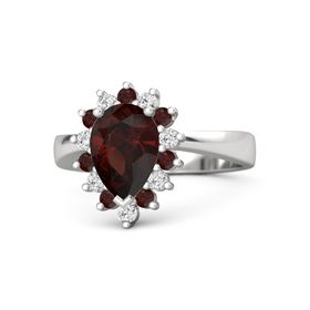 Pear Red Garnet Sterling Silver Ring with Red Garnet and White Sapphire