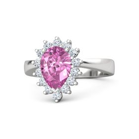 Pear Pink Sapphire Sterling Silver Ring with Diamond