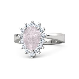 Pear Rose Quartz Sterling Silver Ring with Diamond