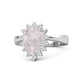 Pear Rose Quartz Sterling Silver Ring with White Sapphire