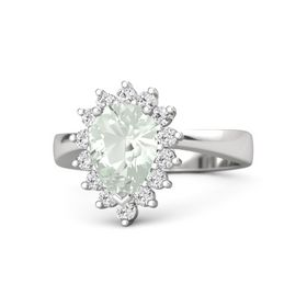 Pear Green Amethyst Sterling Silver Ring with White Sapphire