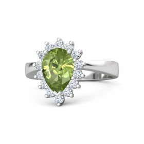 Pear Peridot Sterling Silver Ring with Diamond