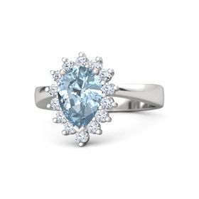 Pear Aquamarine Sterling Silver Ring with Diamond