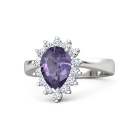 Pear Iolite Sterling Silver Ring with Diamond