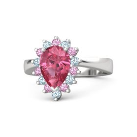 Pear Pink Tourmaline Sterling Silver Ring with Pink Tourmaline & Aquamarine