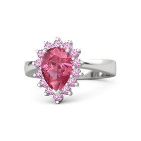 Pear Pink Tourmaline Sterling Silver Ring with Pink Tourmaline
