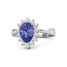 Pear Tanzanite Sterling Silver Ring with Diamond
