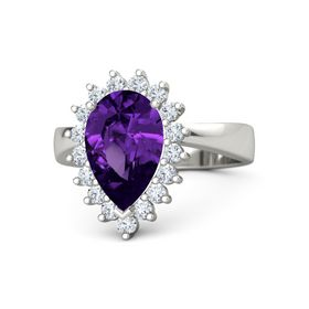Pear Amethyst 14K White Gold Ring with Diamond